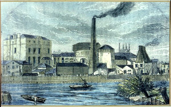"""Slide by Tony Corley of Drawing from David Simonds collection Marked on the back: """"The old fashioned print of Seven Bridges Brewery: Date: 1861"""". """"ex Mr C. H. Smith 5/2/35"""""""