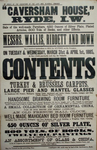 Caversham House auction 1885 Contents