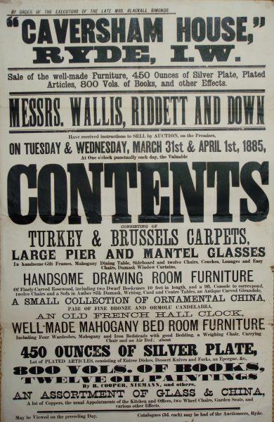 Caversham House auction 1885 Contents