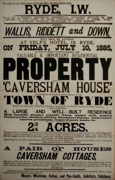 Caversham House auction 1885 poster