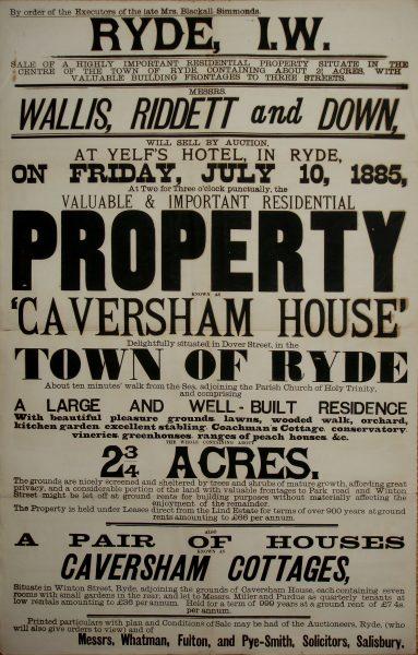 Caversham House auction 1885 poster