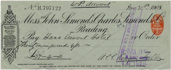 Cheque 1903