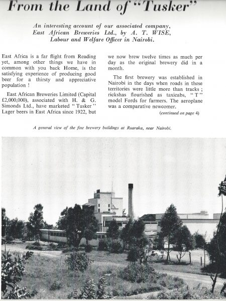 East African Brewery 1958