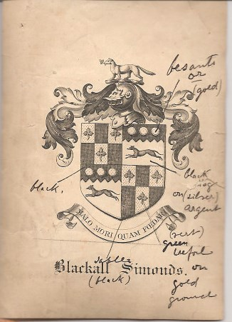 Simonds Blackall Coat of Arms