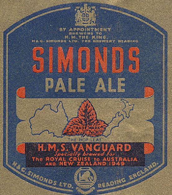 HMS Vanguard label 1949