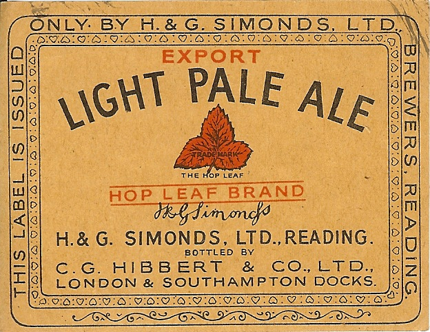 Light Pale Ale 6 wartime Hibbert Export