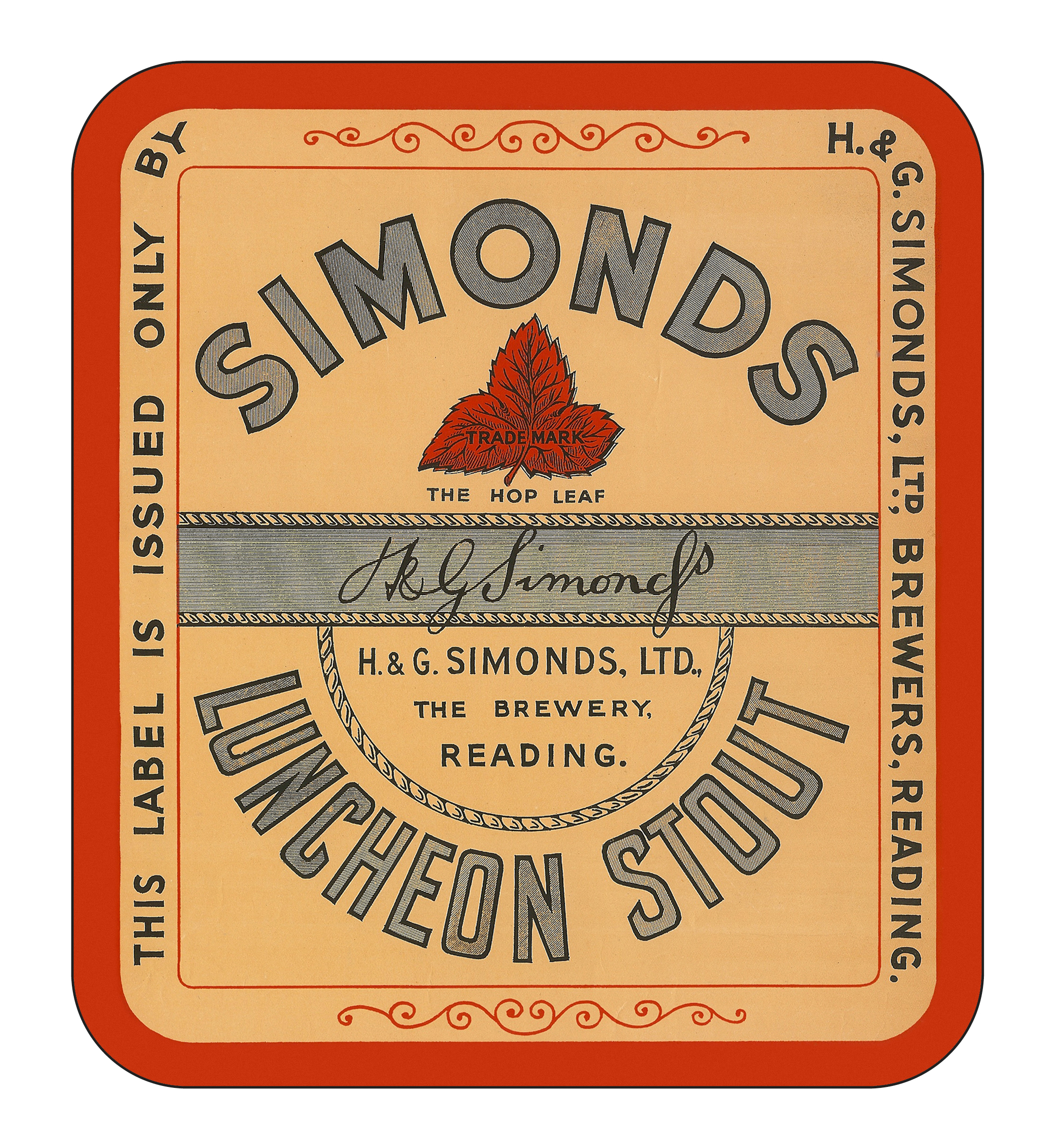 Luncheon Stout display label 24.2 x 27.4cms