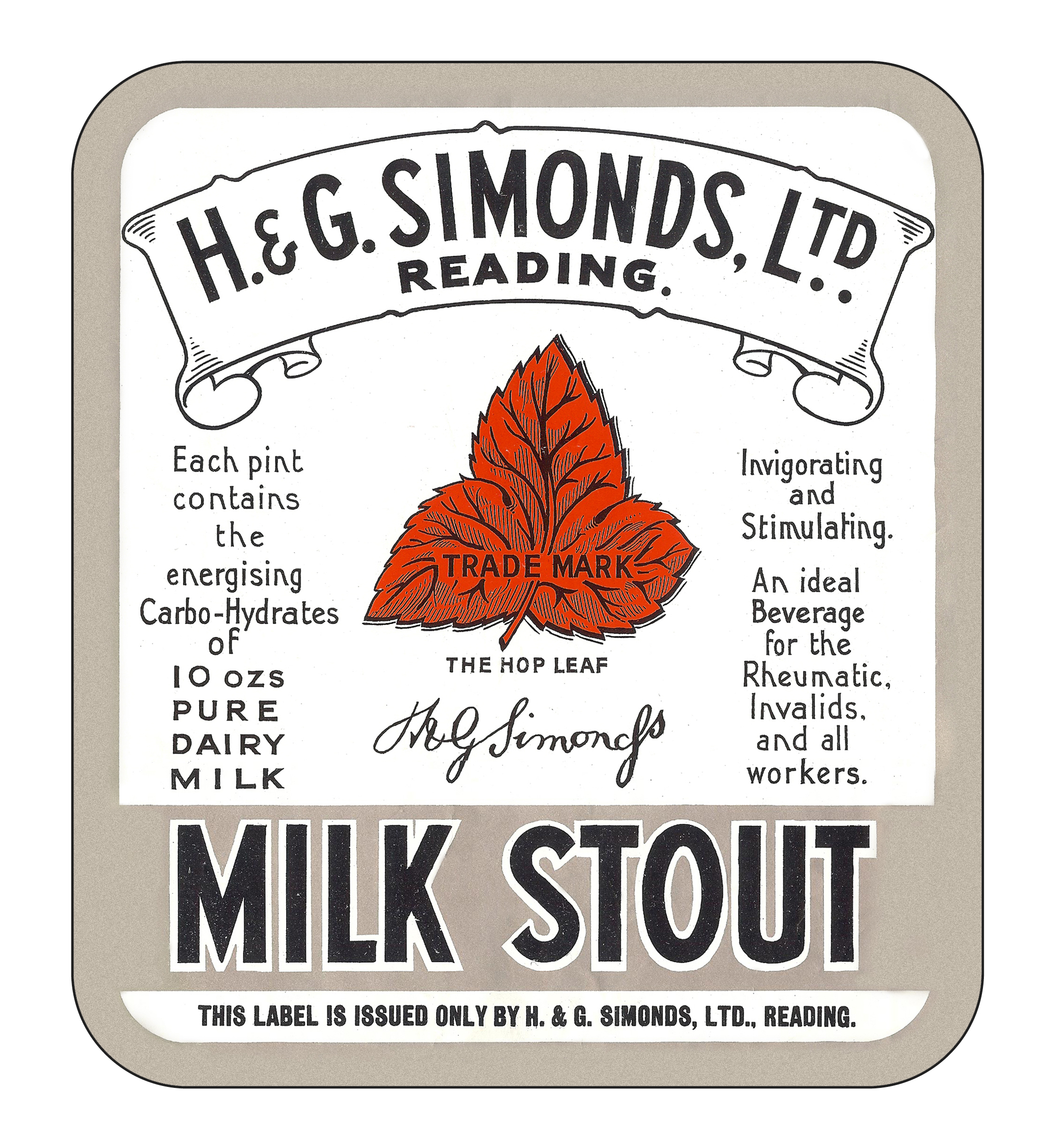 Milk Stout display label 24.2 x 27.4cms
