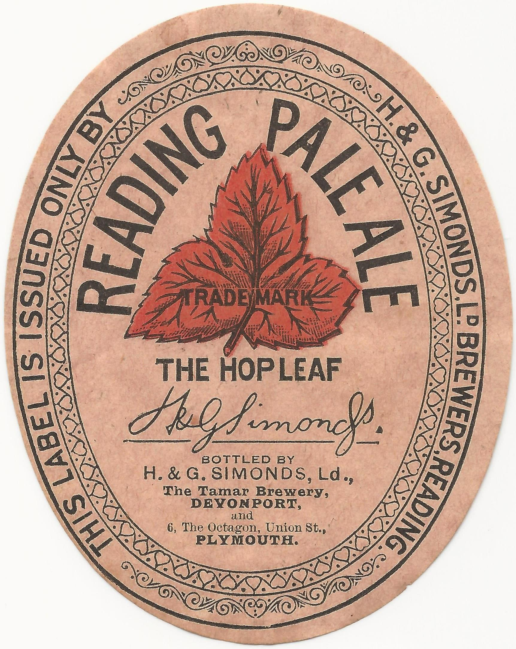 Reading Pale Ale 2 1930's Devonport – Plymouth
