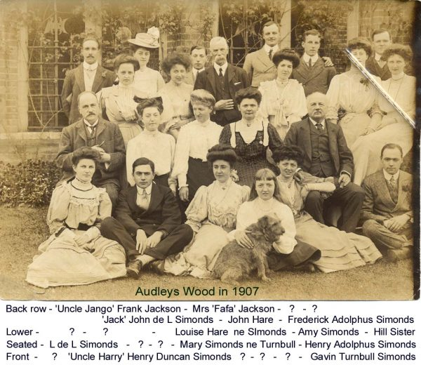 Taken in 1907 at Audleys Wood, the family home of Henry Adolphus Simonds, there are lots of missing names.