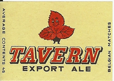 Tavern 13 match box label