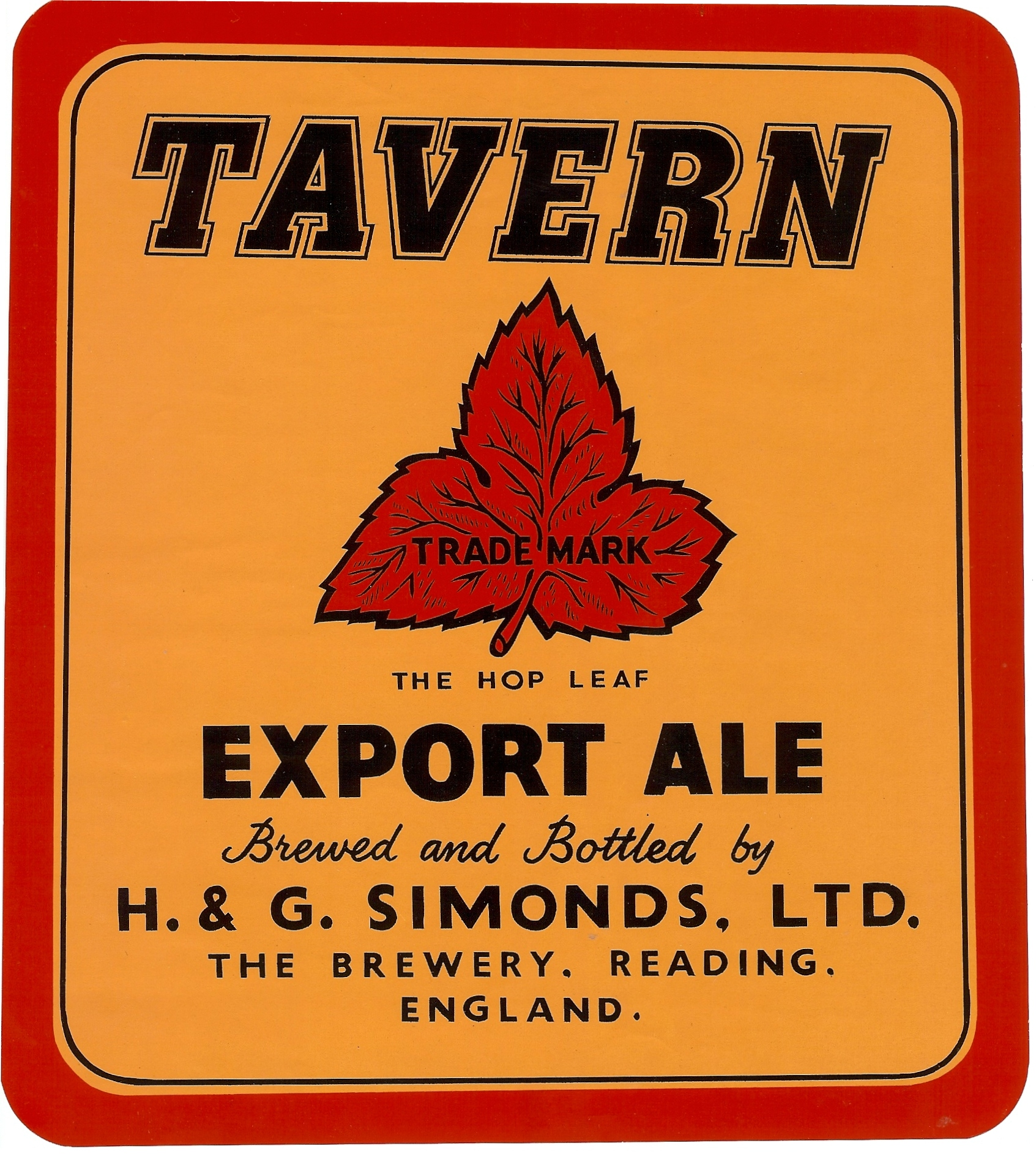 Tavern display label 21 x 23.8 cms